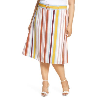 Plus Size Eloquii Stripe Belted Midi Skirt, Pink