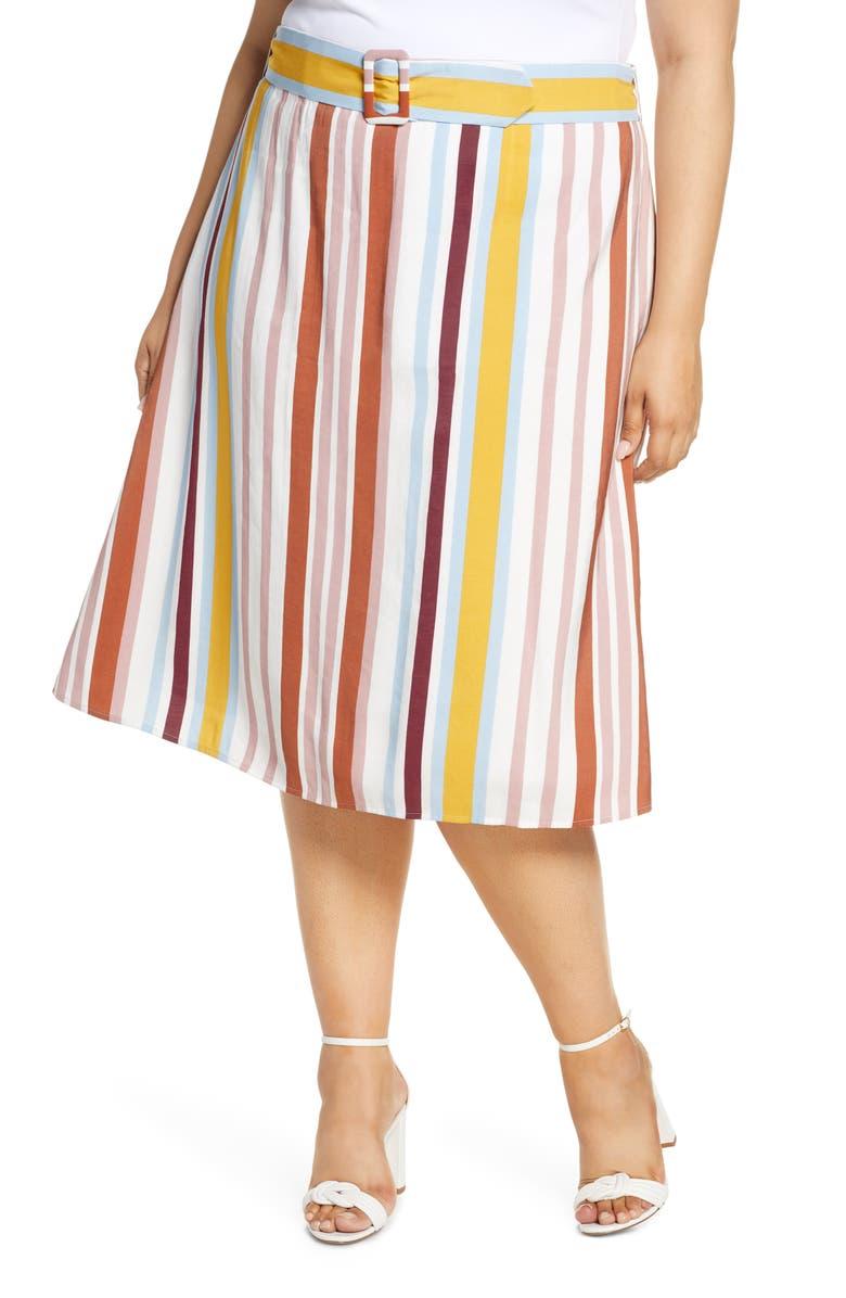 ELOQUII Stripe Belted Midi Skirt, Main, color, TROPICAL SUNRISE STRIPES