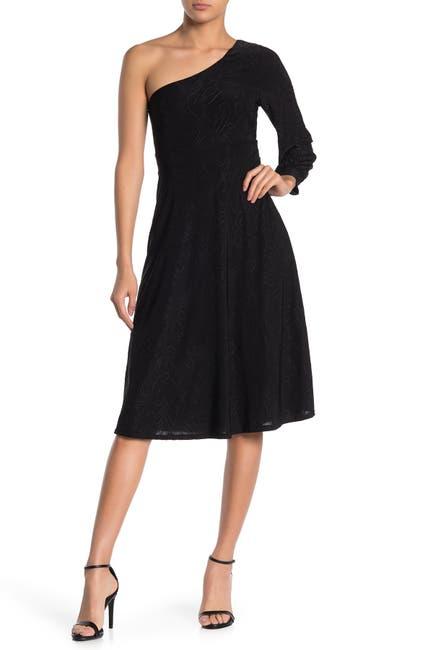 Image of WEST KEI Swirl One-Shoulder Fit & Flare Midi Dress