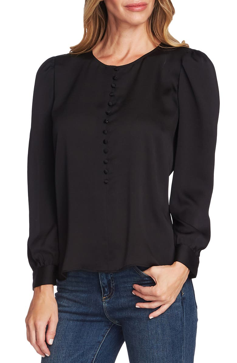 VINCE CAMUTO Puff Shoulder Hammered Satin Blouse, Main, color, RICH BLACK