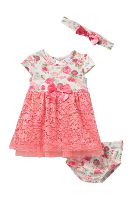 Image of Nicole Miller Floral Lace Dress & Headband Set