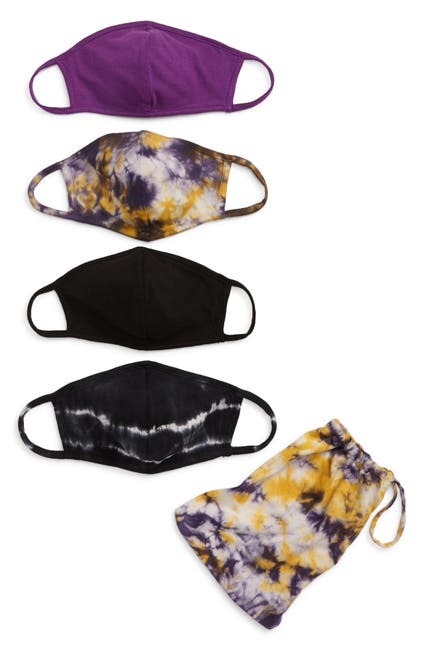 Image of Nordstrom Kids Knit Tie Dye Print Masks - Pack of 4