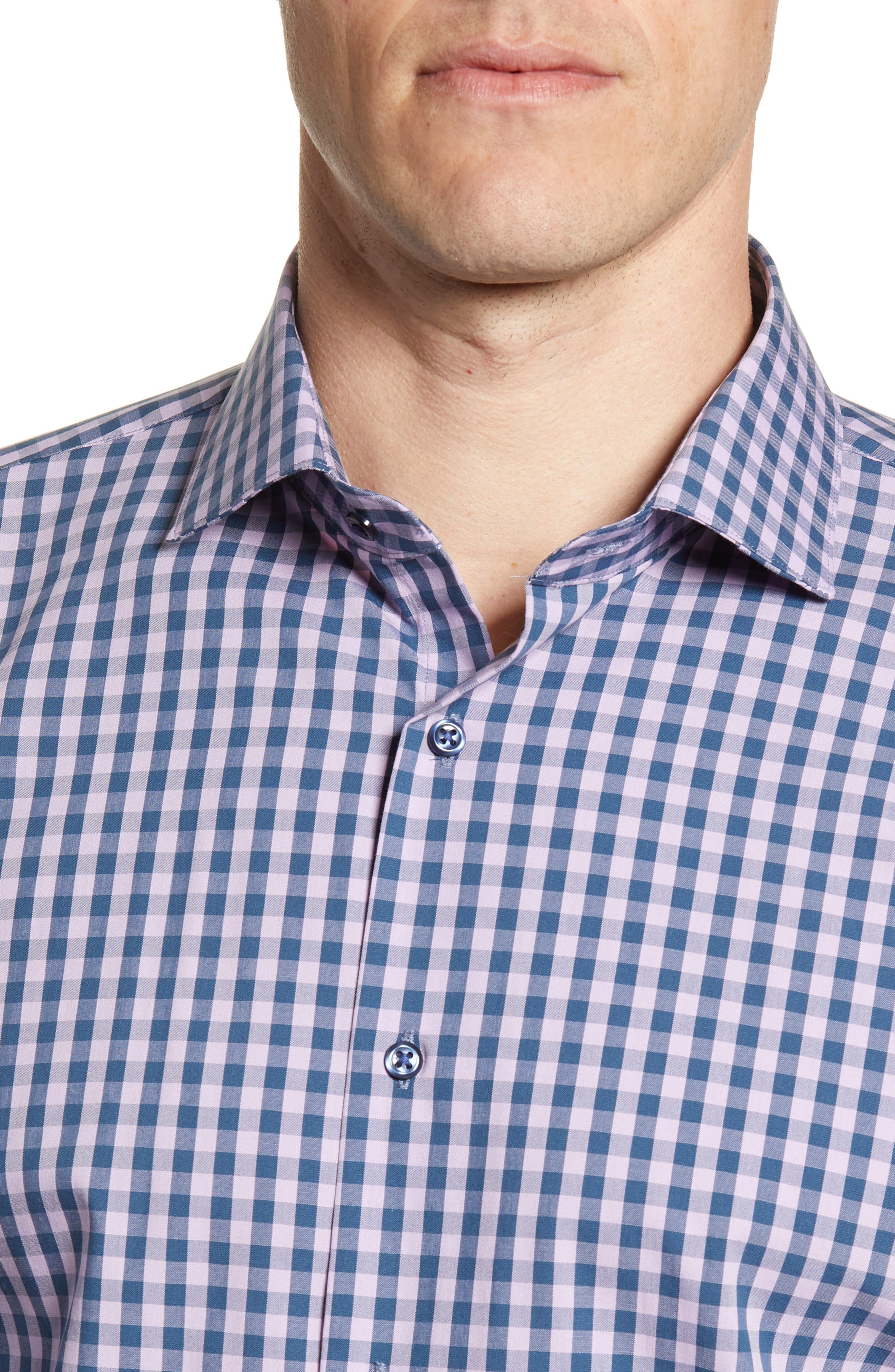 ,                             Tech-Smart Trim Fit Stretch Check Dress Shirt,                             Alternate thumbnail 40, color,                             510