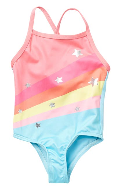 Image of Wippette Rainbow Foil Stars One-Piece Swimsuit