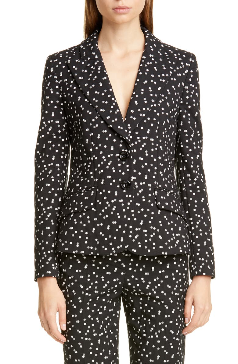 EMPORIO ARMANI Polka Dot Jacquard Jacket, Main, color, BLACK/ WHITE
