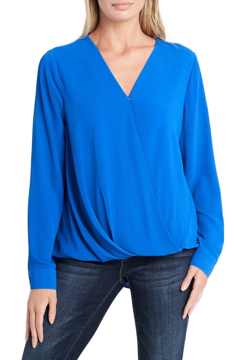 VINCE CAMUTO Long Sleeve Faux Wrap Blouse, Main, color, COBALT BLUE