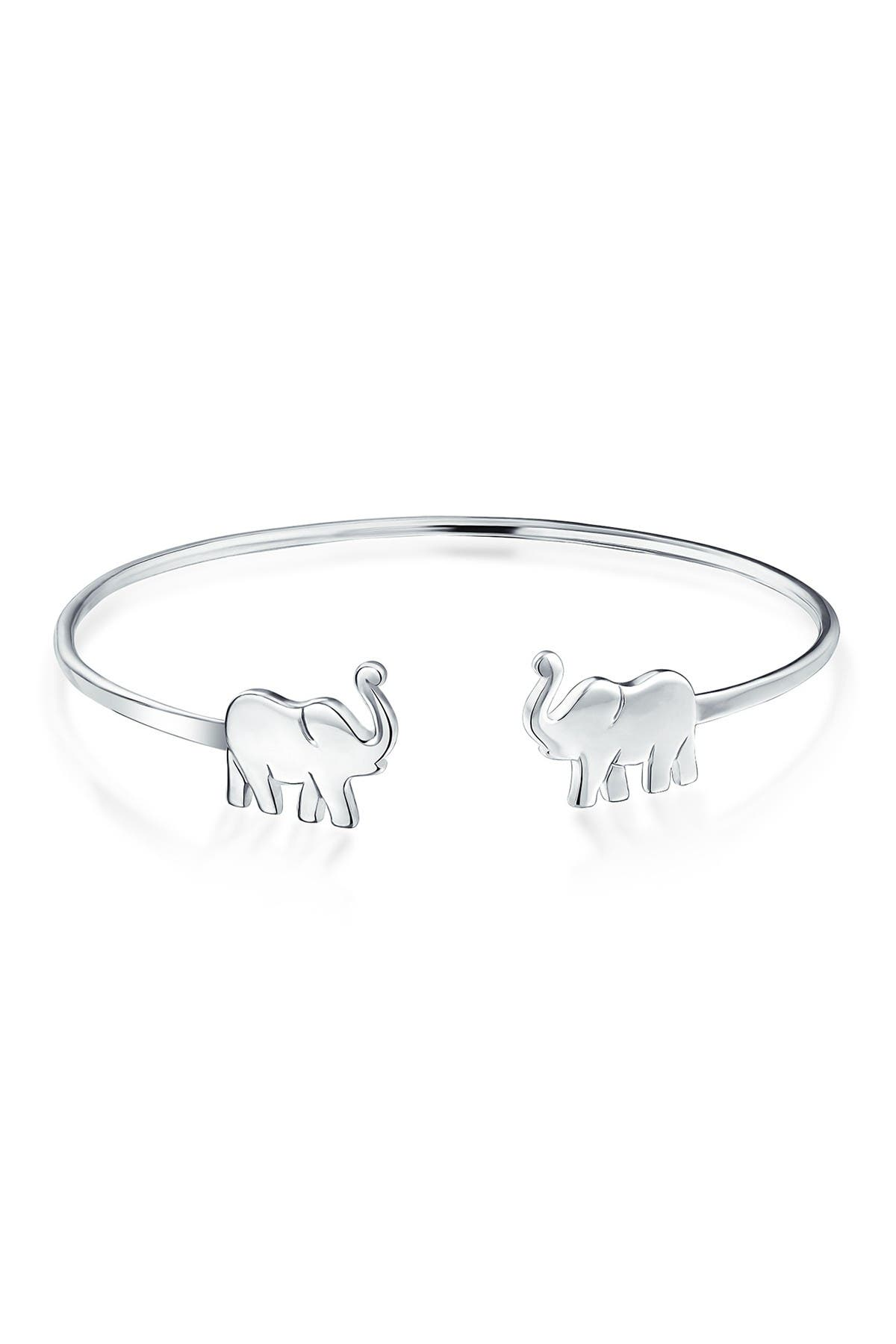 Image of Bling Jewelry Sterling Silver Lucky Elephant Duo Open Cuff