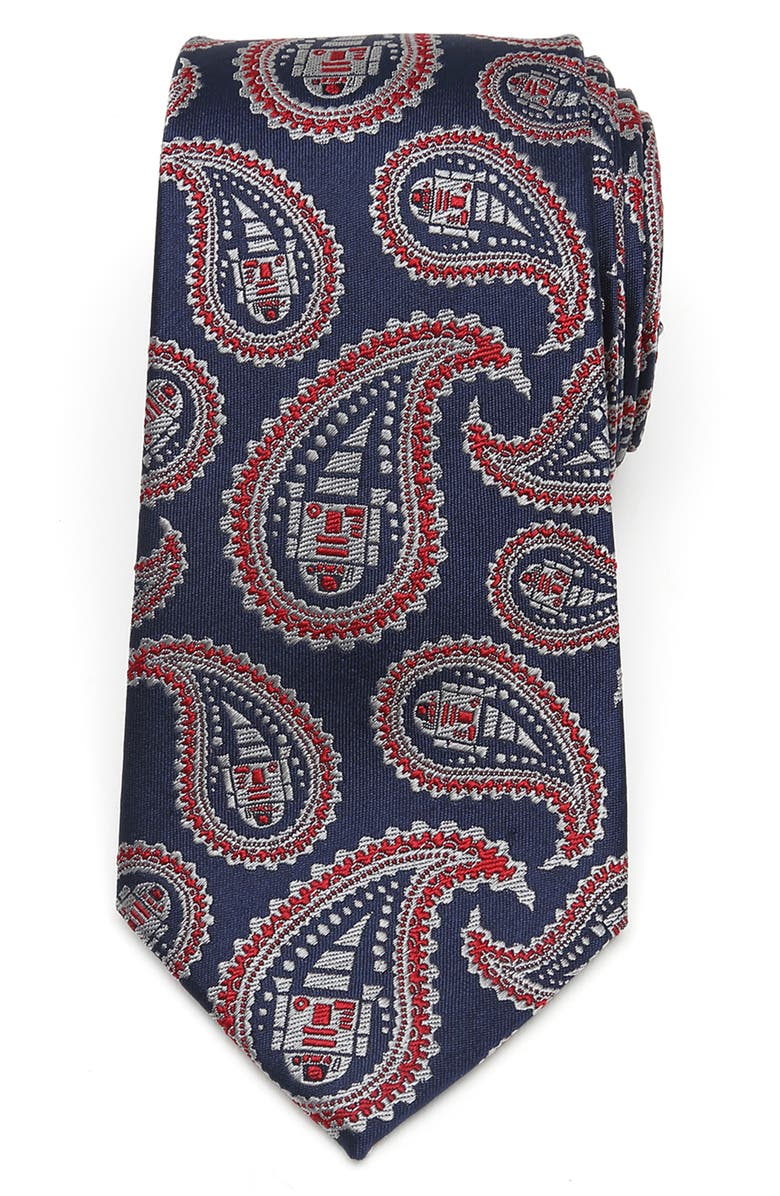 CUFFLINKS, INC. R2D2 Paisley Silk Tie, Main, color, RED