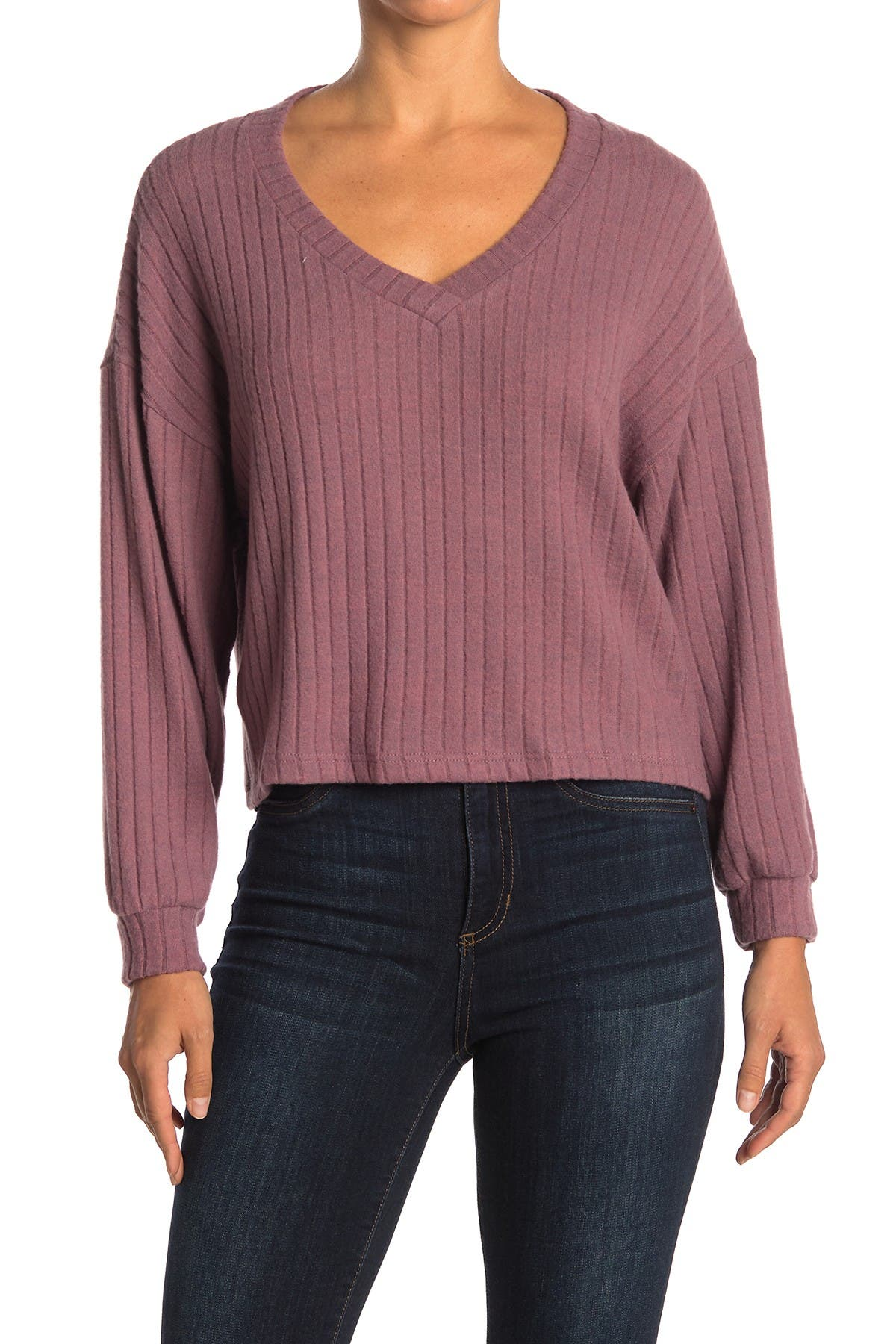 Image of Lush Boxy Wide Ribbed Knit Sweater