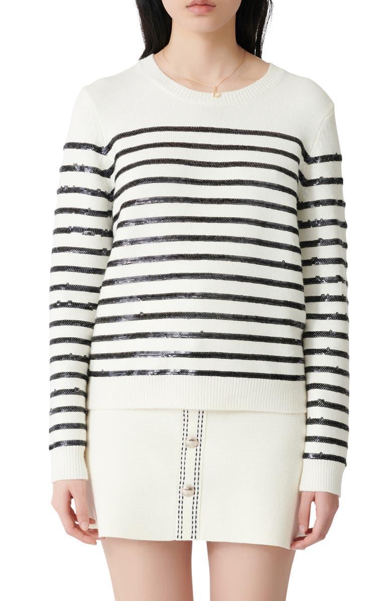 MAJE Mystrip Sequin Stripe Sweater, Main, color, 250