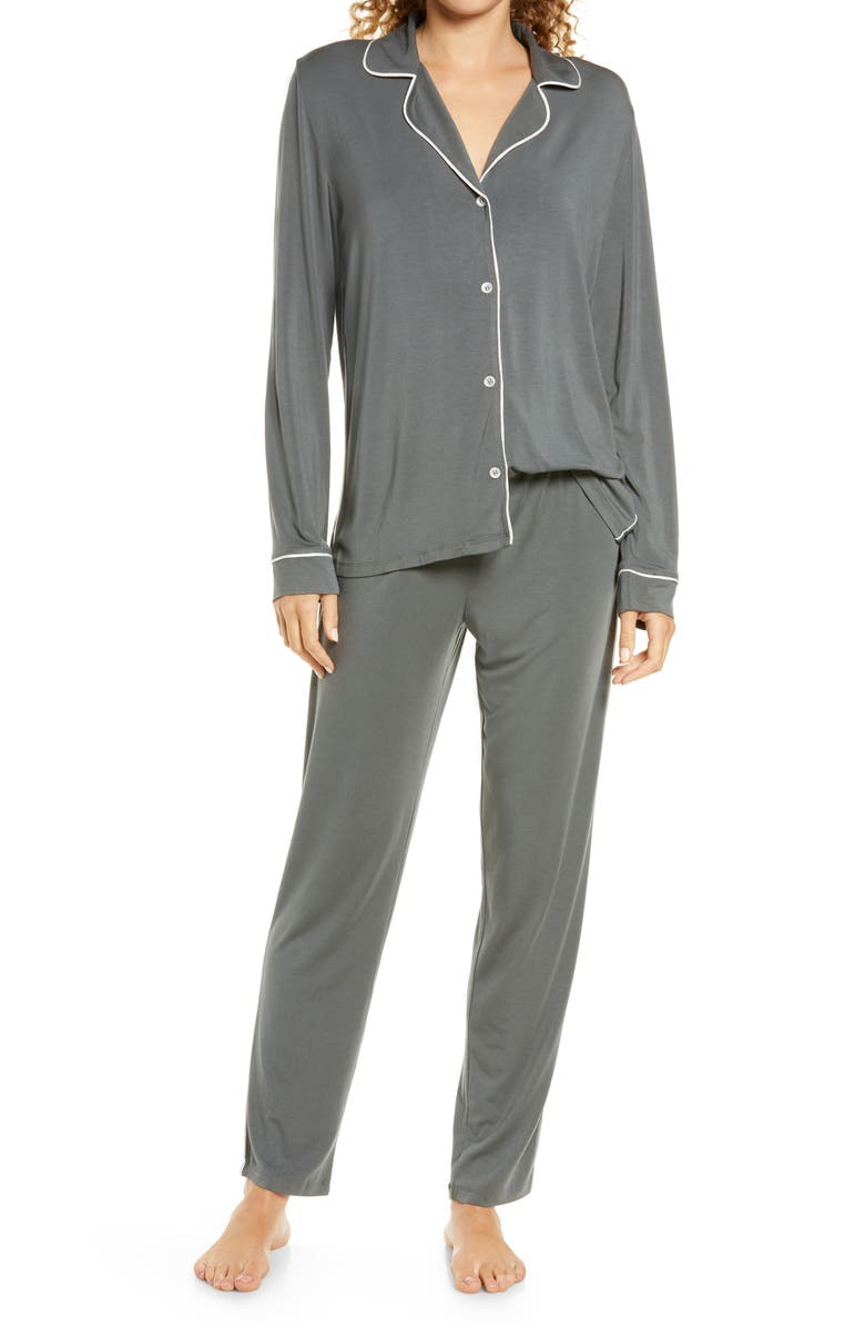 EBERJEY Gisele Slim Pajamas, Main, color, KELP/ BONE
