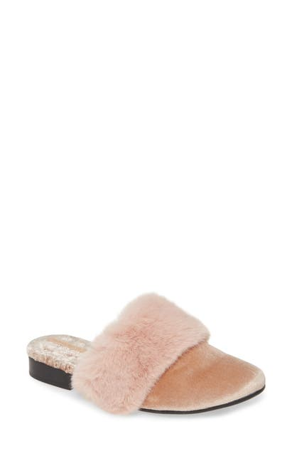 Taryn Rose Mules BRAILYN FAUX FUR TRIM MULE