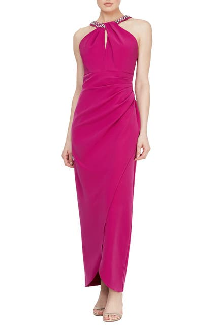 Image of SLNY Embellished Cutout Halter Maxi Dress