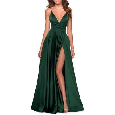 La Femme Strappy Back Satin Ballgown, Green
