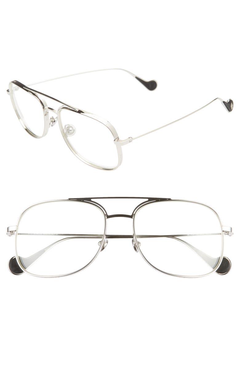 MONCLER 57mm Optical Glasses, Main, color, SHINY PALLADIUM/ CLEAR