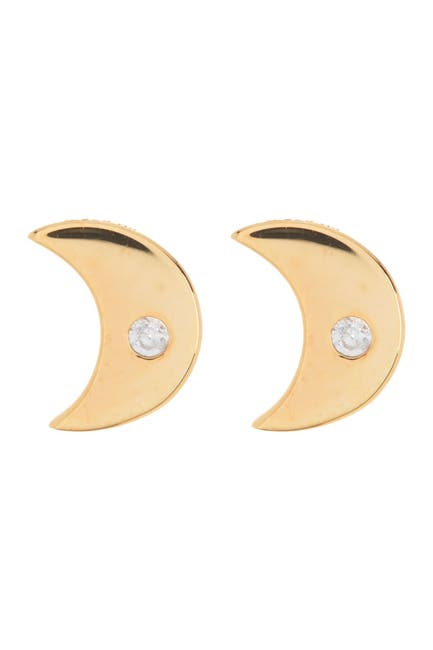 Image of Paige Novick Moon Natural White Zircon Stud Earrings