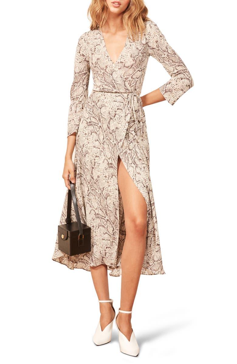 REFORMATION Jaz Wrap Midi Dress, Main, color, PYTHON