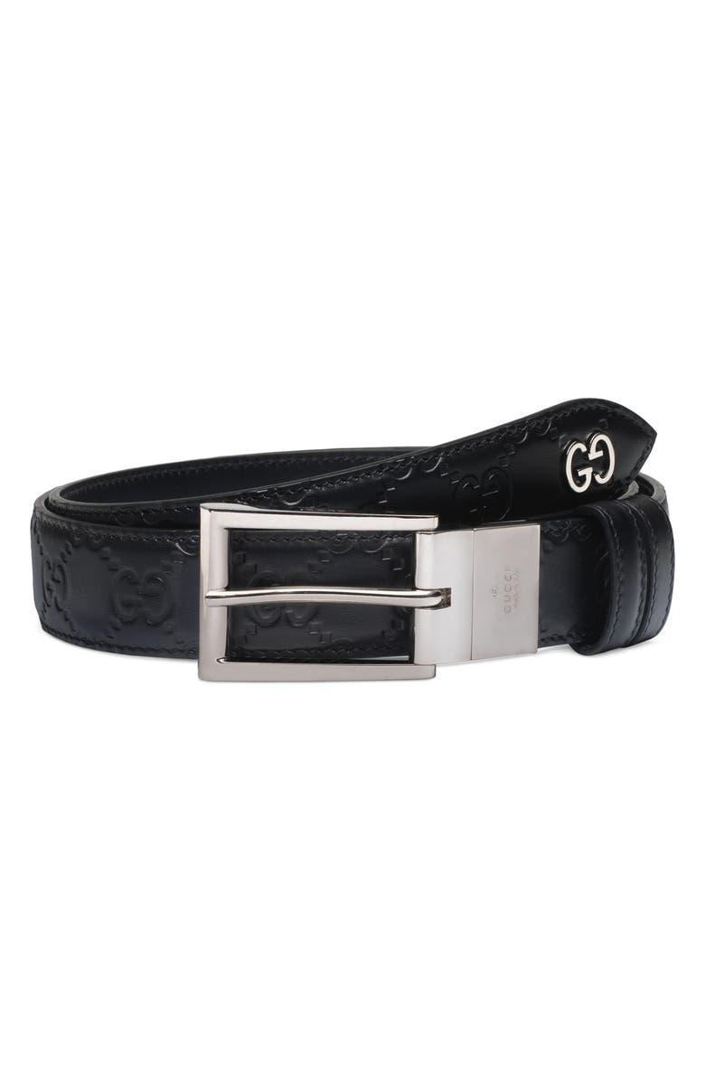 GUCCI Reversible Signature Leather Belt, Main, color, BLACK