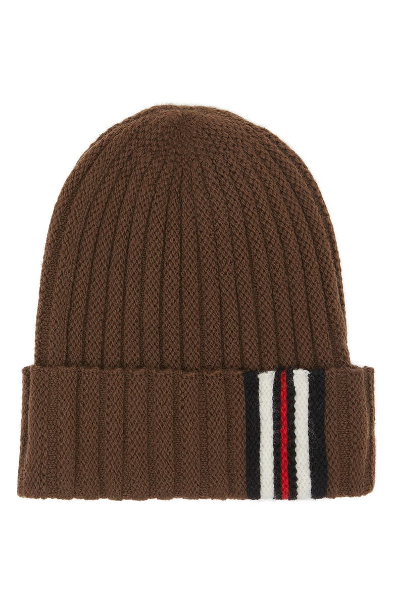 BURBERRY Stripe Cuff Ribbed Wool Beanie, Main, color, 200