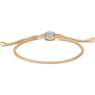 John Hardy Classic Chain 18K Gold & Diamond Pave Pull Through Bracelet