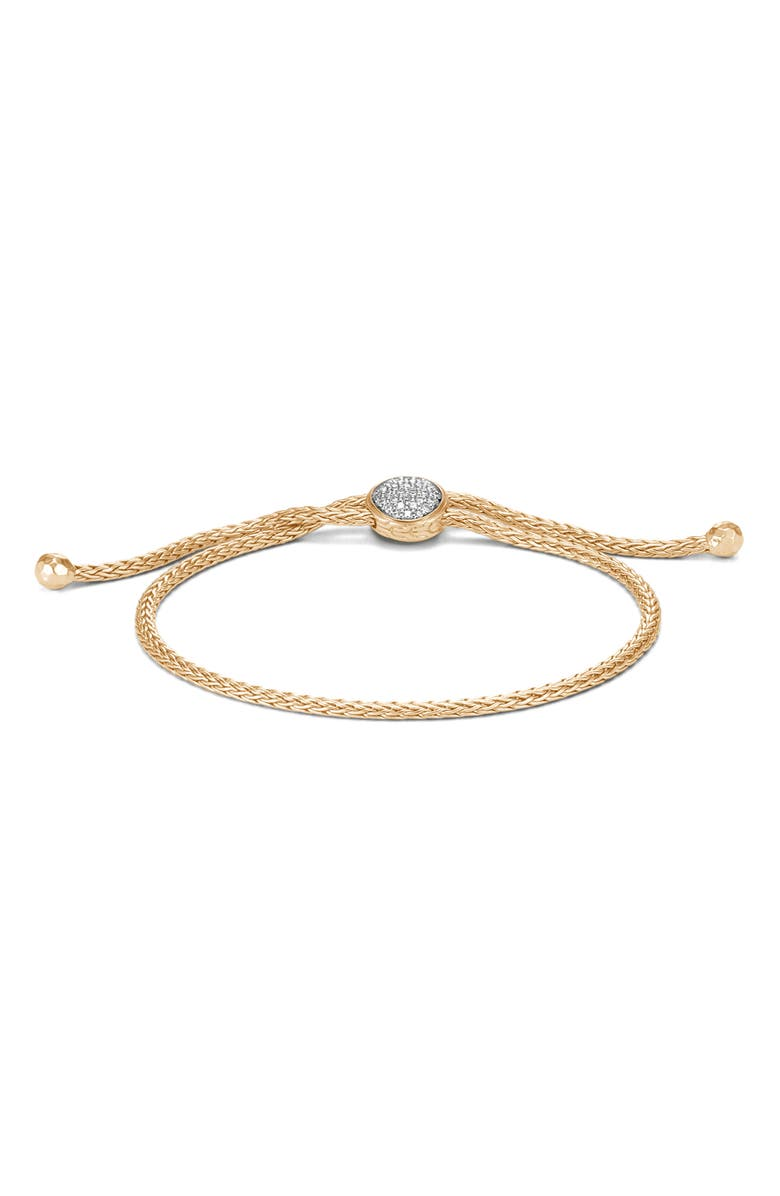 JOHN HARDY Classic Chain 18K Gold & Diamond Pavé Pull Through Bracelet, Main, color, YELLOW GOLD