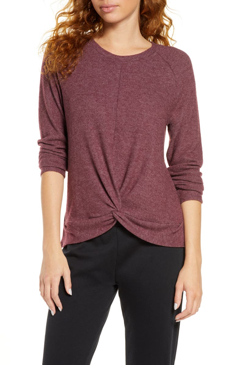 SOCIALITE Twist Front Brushed Hacci Sweatshirt, Main, color, 935