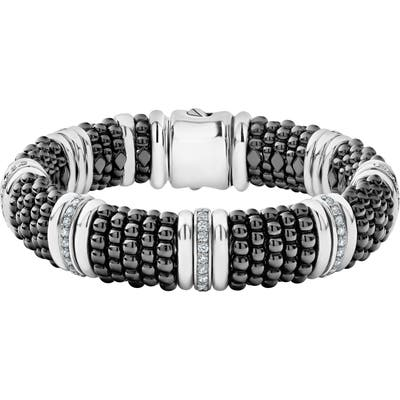 Lagos Black Caviar Diamond Seven-Link Bracelet