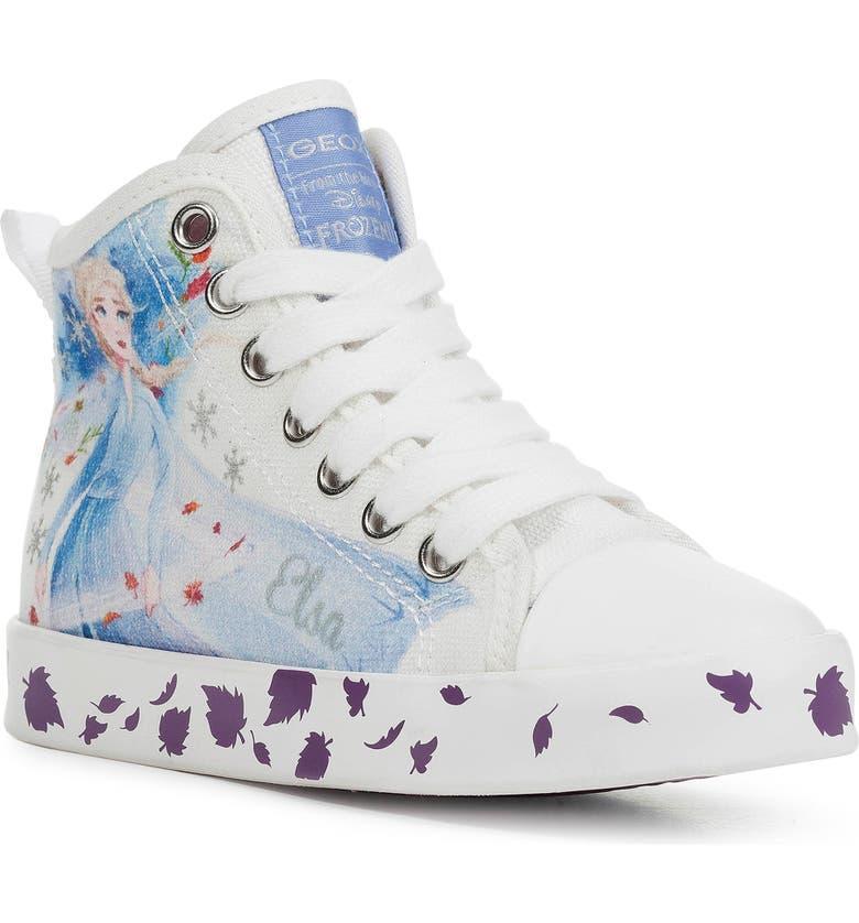 GEOX x Disney Ciak Frozen High Top Sneaker, Main, color, WHITE/ MULTICOLOR