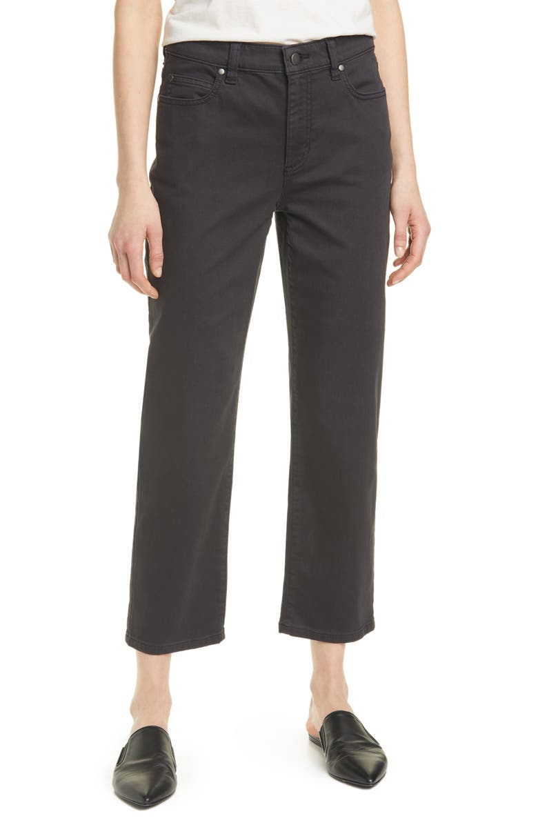 EILEEN FISHER High Waist Stretch Organic Cotton Pants, Main, color, BLACK