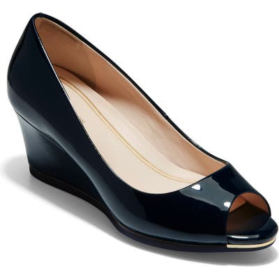 Cole Haan Grand Ambition Peep Toe Wedge Pump, Blue