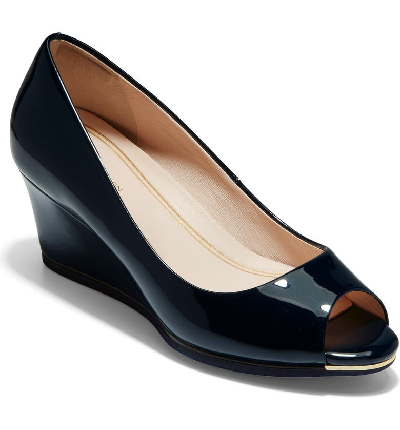 COLE HAAN Grand Ambition Peep Toe Wedge Pump, Main, color, MARINE BLUE LEATHER