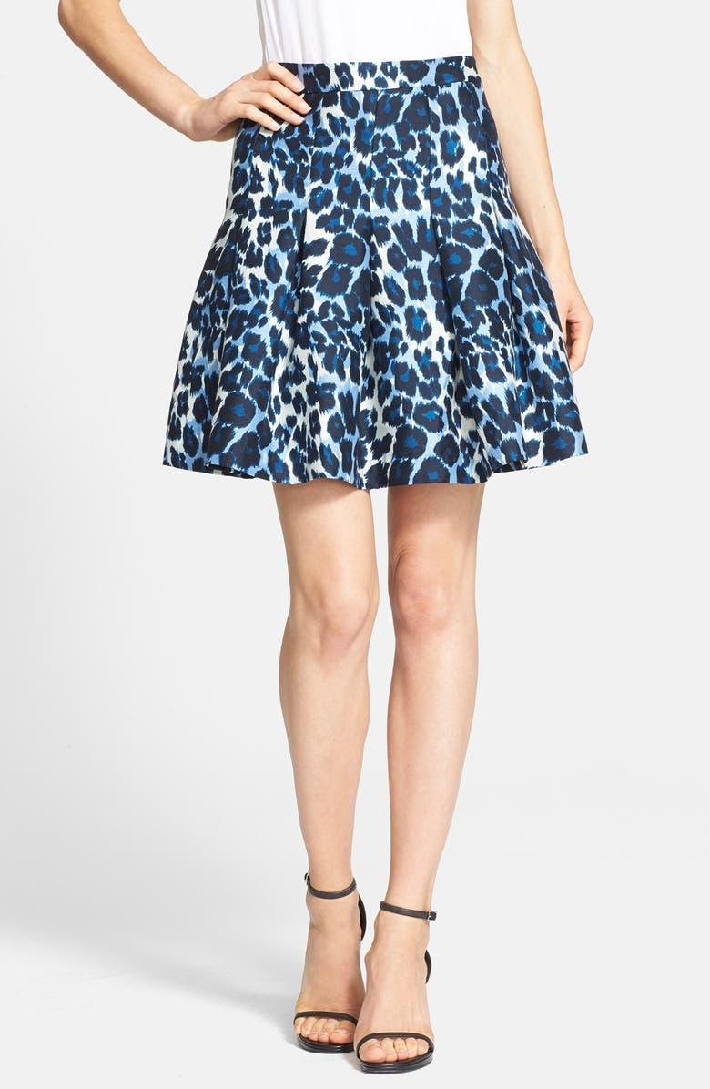 DIANE VON FURSTENBERG 'Gemma' Leopard Print Pleated Skirt, Main, color, 459