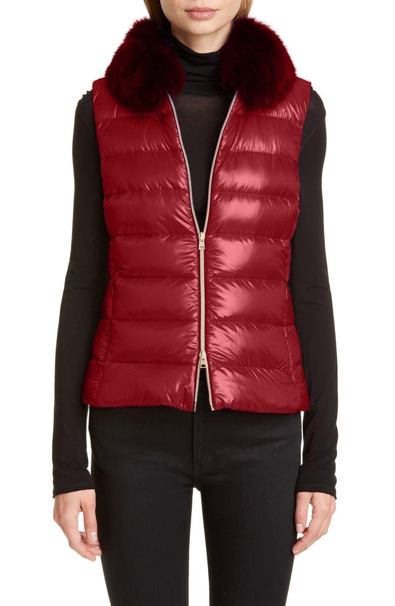 HERNO Genuine Fox Fur Collar Down Vest, Main, color, ROSSO/ BORDEAUX