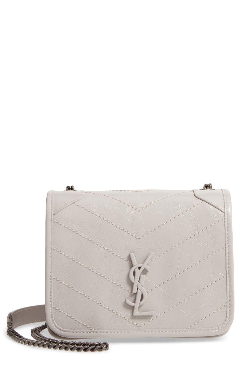 SAINT LAURENT Niki Leather Crossbody Bag, Main, color, GRANITE