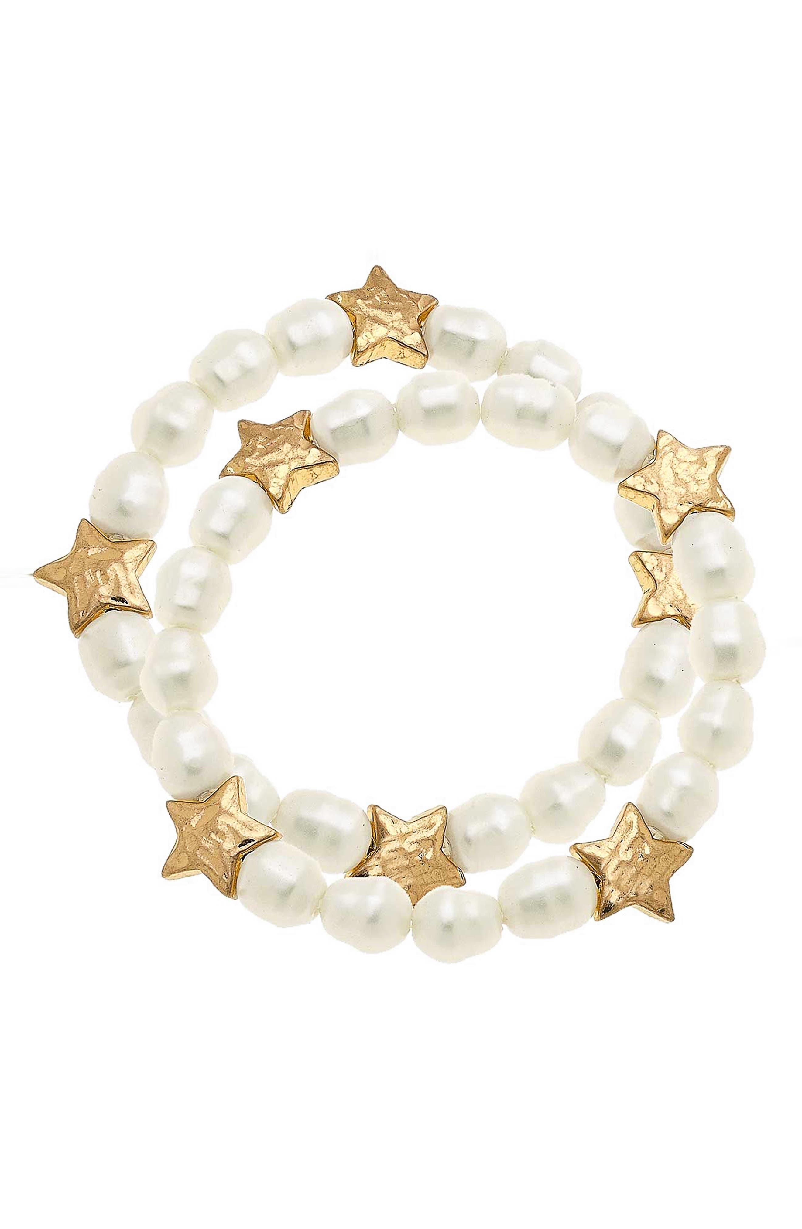 Women's Canvas Sara Set Of 2 Star Imitation Pearl Bracelets