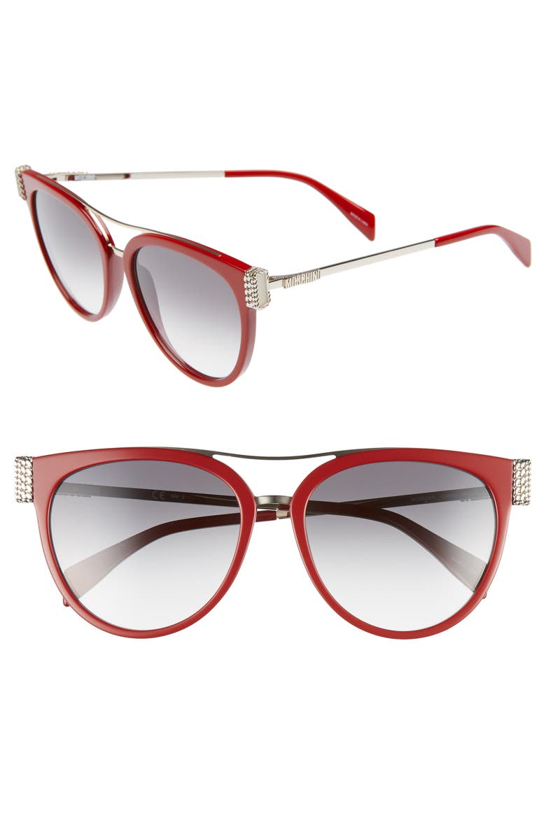 MOSCHINO 55mm Cat Eye Sunglasses, Main, color, RED