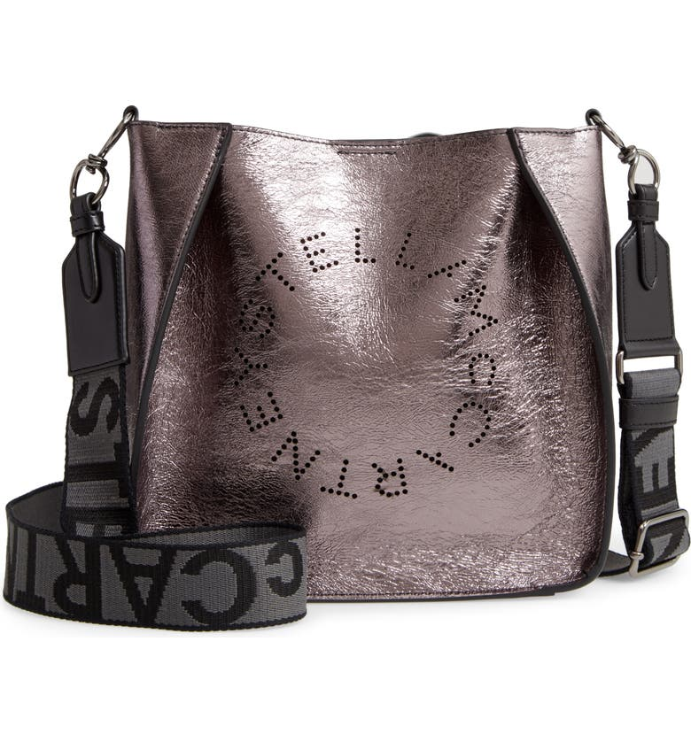 STELLA MCCARTNEY Mini Stella Perforated Logo Faux Leather Crossbody Bag, Main, color, RUTHENIUM
