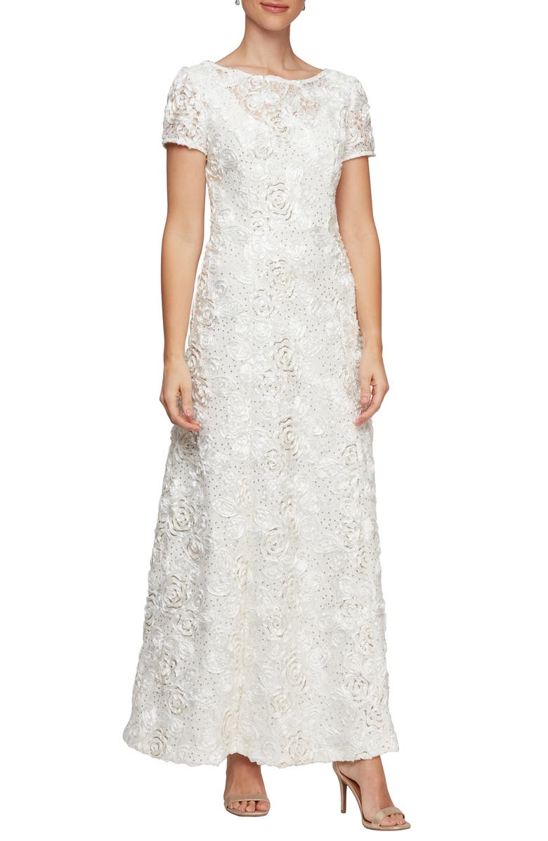 ALEX EVENINGS Embellished Lace Gown, Main, color, IVORY GOLD
