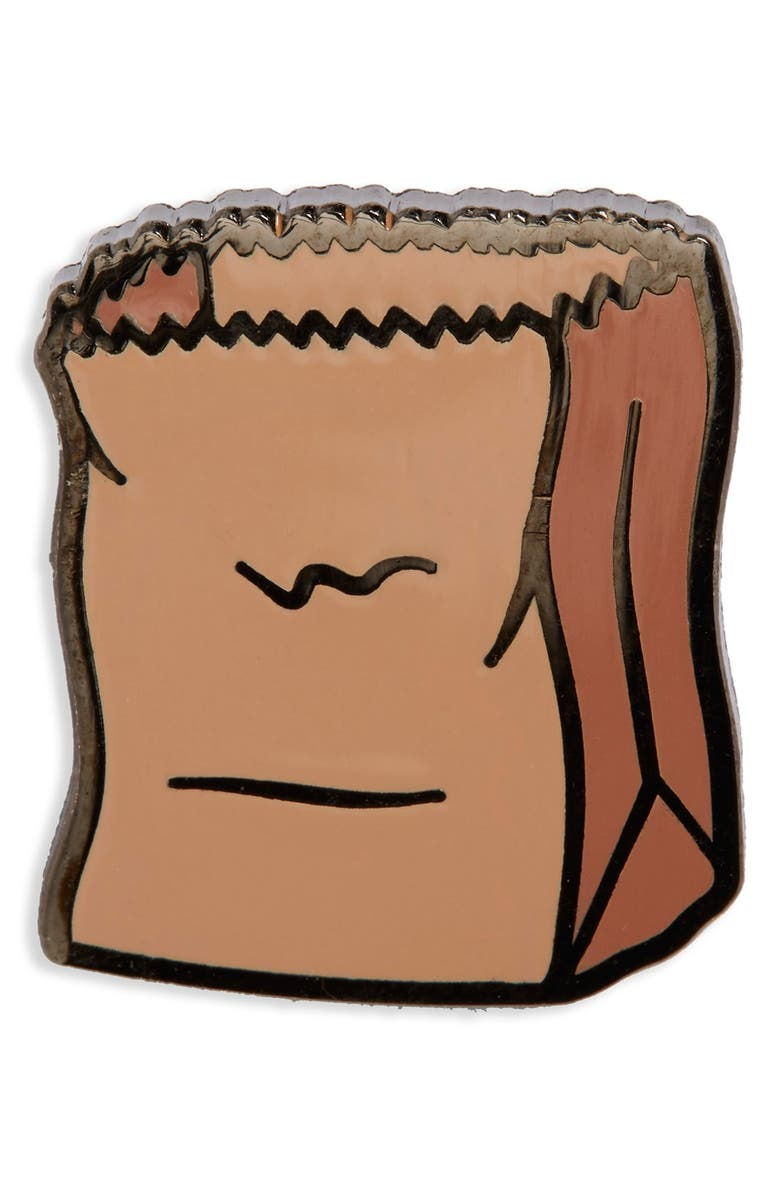 PINTRILL 'Brown Bag' Fashion Accessory Pin, Main, color, 250
