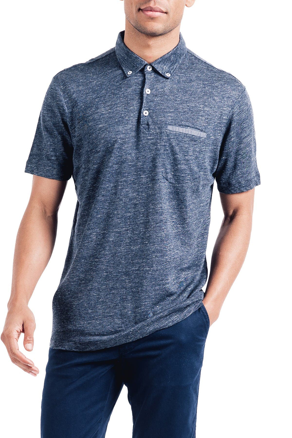 Image of Good Man Brand Heathered Linen Polo