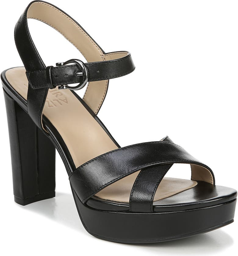 NATURALIZER Mia Cross Strap Platform Sandal, Main, color, BLACK LEATHER