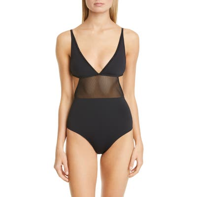 Stella Mccartney Mesh Insert One-Piece Swimsuit, Black