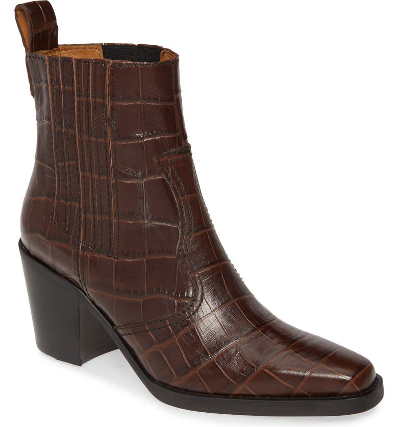 GANNI Croc Embossed Western Boot, Main, color, CHICORY COFFEE