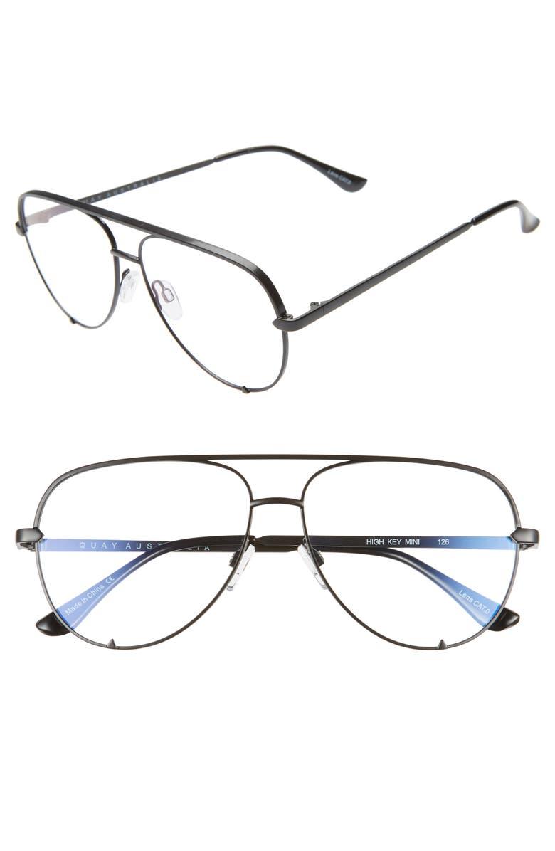QUAY AUSTRALIA High Key Mini 60mm Blue Light Blocking Glasses, Main, color, BLACK