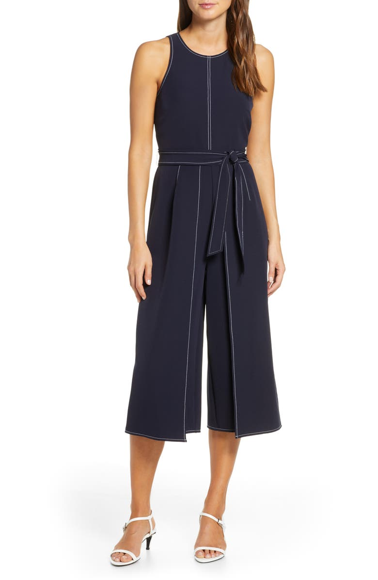 Topstitch Detail Stretch Crepe Jumpsuit by Vince Camuto