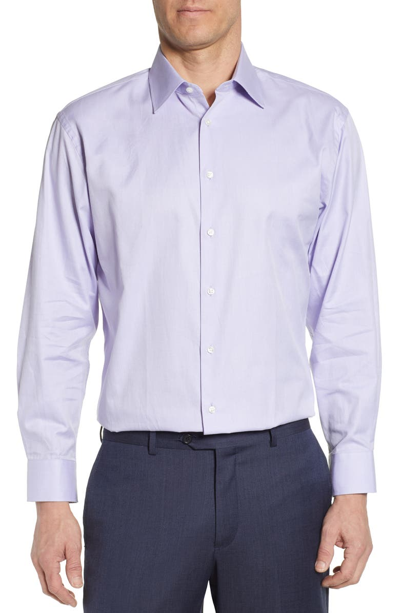 NORDSTROM MEN'S SHOP Traditional Fit Solid Dress Shirt, Main, color, PURPLE BETTA