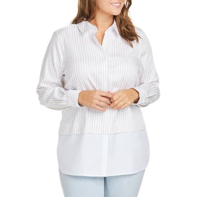 Plus Size Foxcroft Giselle Layered Look Stripe Shirt, Beige