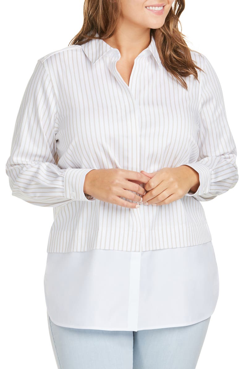 FOXCROFT Giselle Layered Look Stripe Shirt, Main, color, DRIFTWOOD