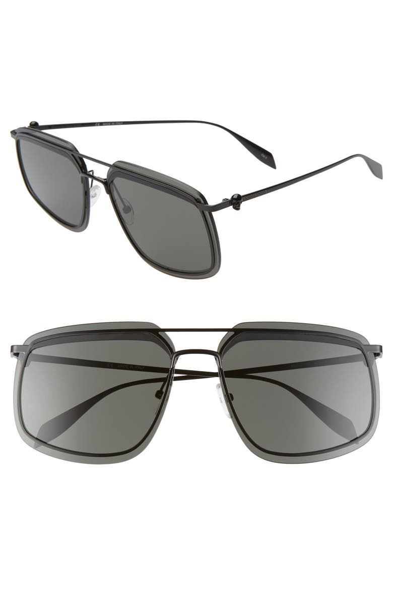 ALEXANDER MCQUEEN 64mm Navigator Sunglasses, Main, color, BLACK