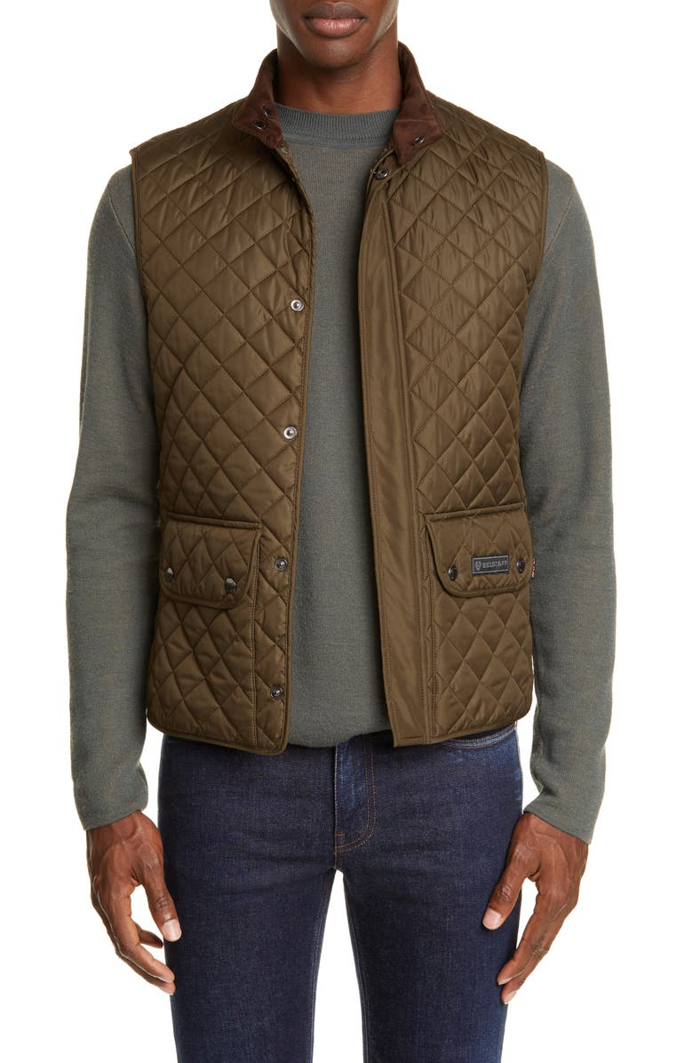 BELSTAFF Waistcoat Tech Quilted Vest, Main, color, FADED OLIVE